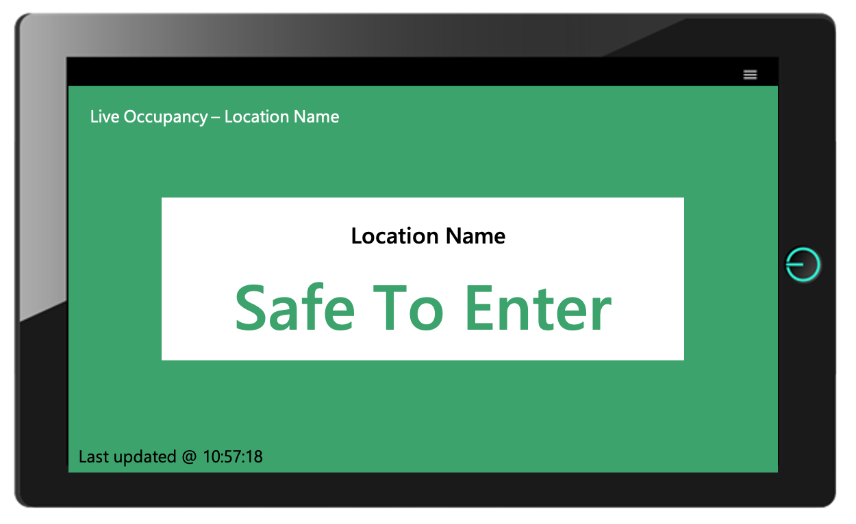 A tablet displaying live occupancy warnings for compliance with covid19 regulations